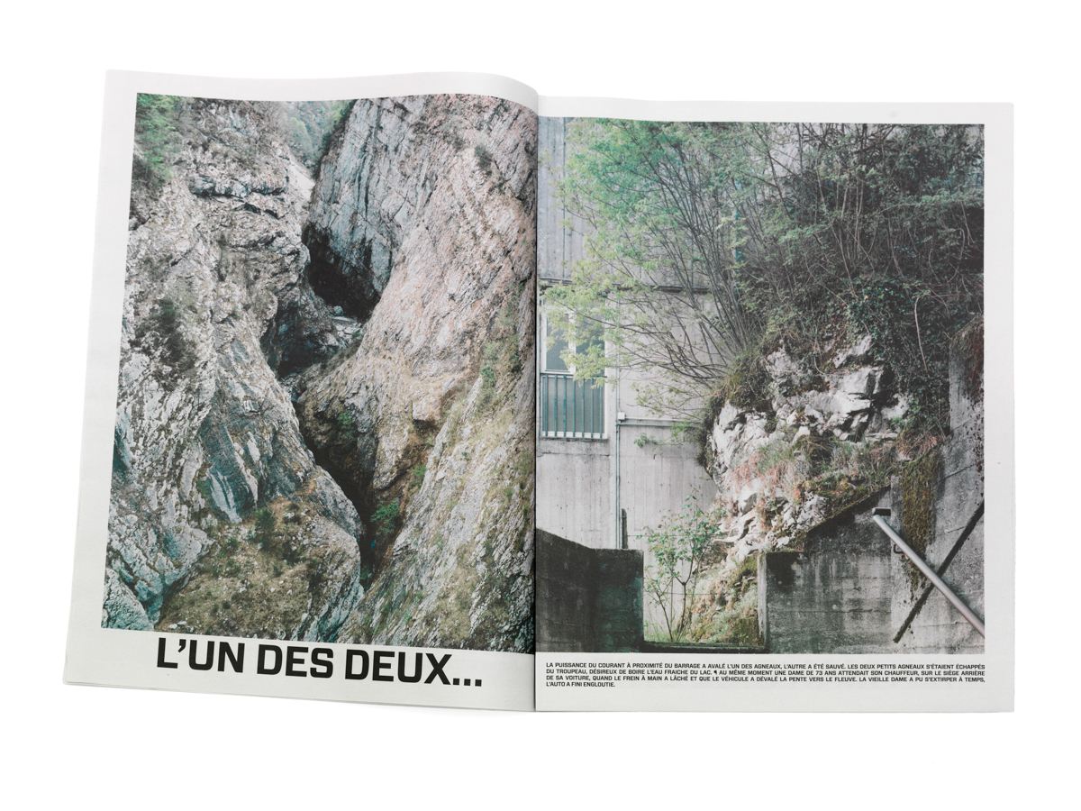 Banale e Brutale, an atmosphériques narratives project investigating the vajont territory  16 pages Newspaper and folded poster | pictures and texts Meloni and Weiner | graphic design Jad Hussein look specific