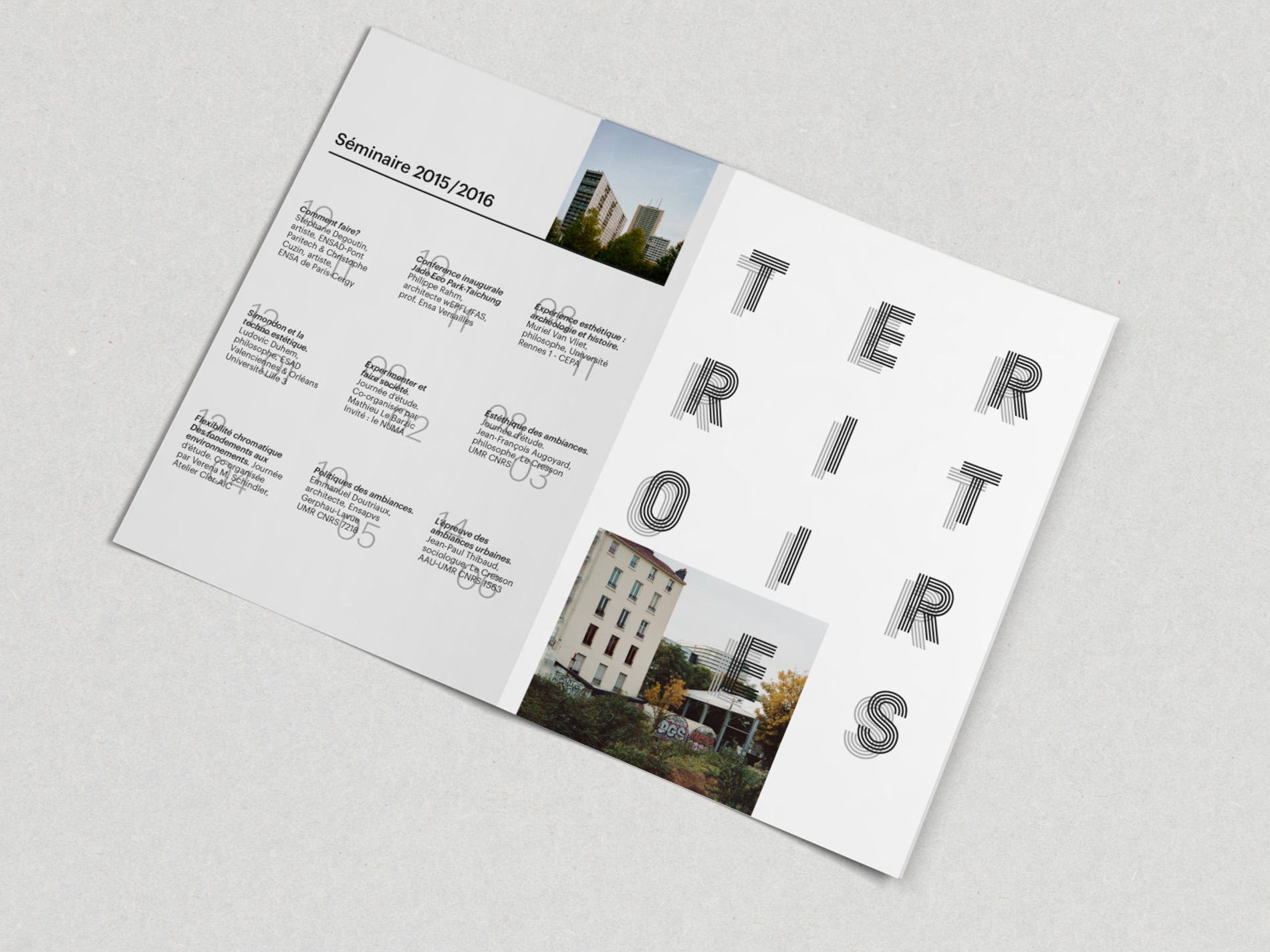Territoires Esthétiques  1st edition poster for lecture series | Photography Giaime Meloni | Graphic design Roberta Donatini